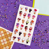 cat kitty ice cream cone sticker sheet