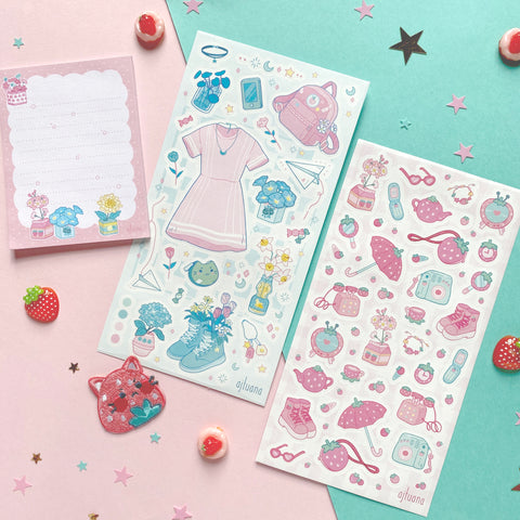 pink strawberry ajtuana umbrella outfit pastel sticker sheet