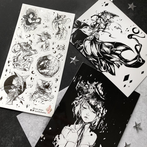 black white light shadow fantasy witch gems crystal stamps postcards stickers