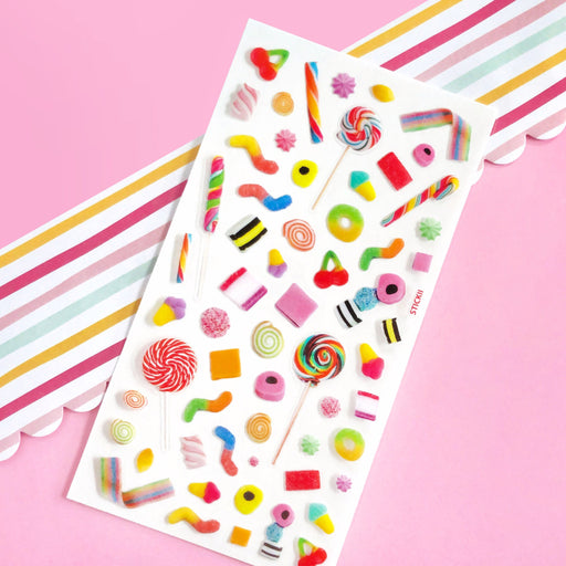 candy lollipop gummy worms sour sticker sheet