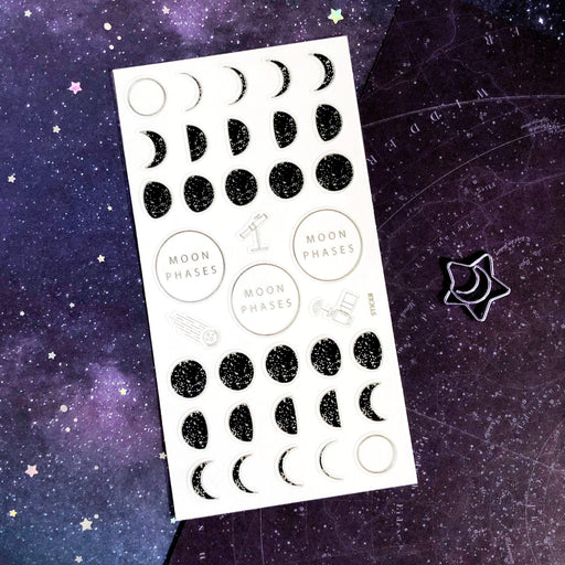 moon phase space stars sticker sheet
