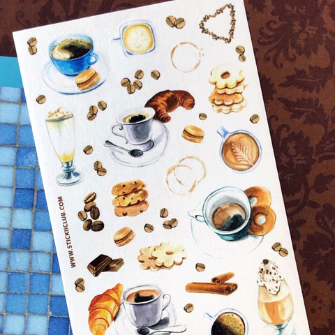 coffee tea hot drink breakfast pastry cafe sticker sheet