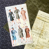 fashion woman coat vintage retro sticker sheet