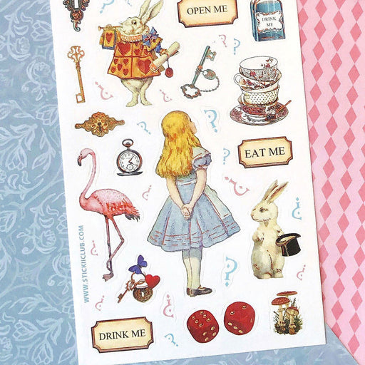 alice in wonderland rabbit tea drink me sticker sheet