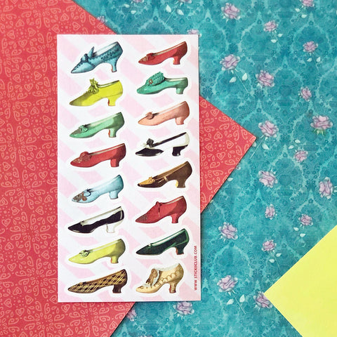 victorian vintage shoes fashion heels sticker sheet