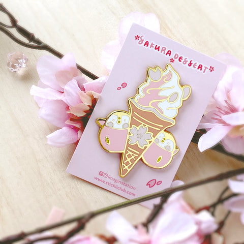Sakura Ice Cream Cone Enamel Pin