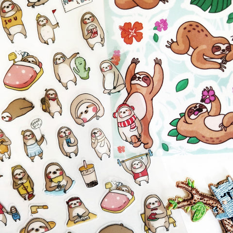 sloth turtle animal sticker pack sheet