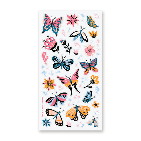 butterfly spring flower sticker sheet