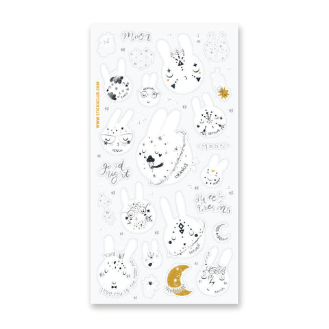 moon planet rabbit bunny space sticker sheet