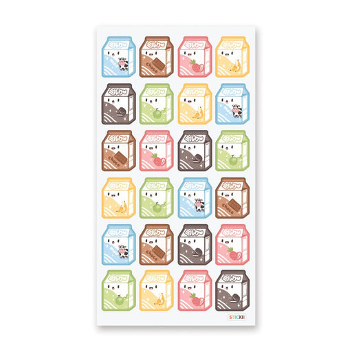 strawberry chocolate banana flavor milk carton sticker sheet