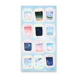 flying airplane window sky views sticker sheet