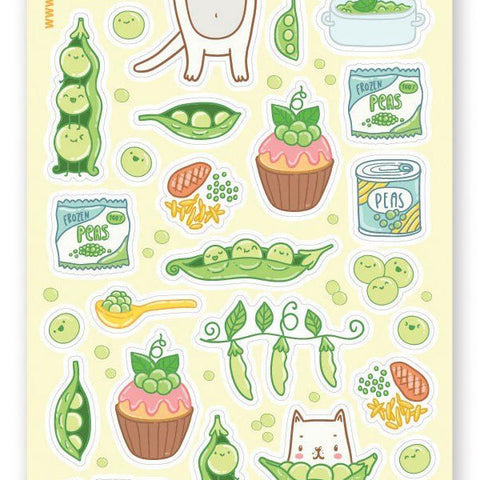pea pod cat sticker sheet