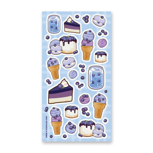 blueberry flavor cake ice cream sticker sheet