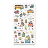 travel bus backpacking cross country around the world sticker sheet