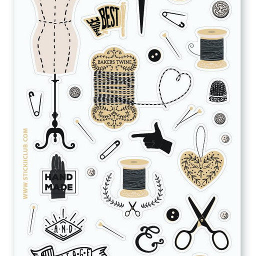 sewing mannequin machine sticker sheet