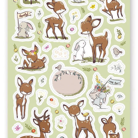 fawn deer forest bunny balloon sticker sheet