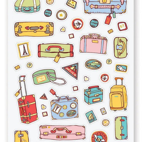 travel luggage suitcase bag sticker sheet