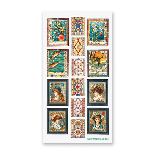 stained glass art window church painting sticker sheet