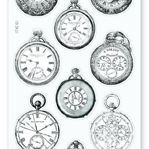 vintage victorian silver pocket watches sticker sheet