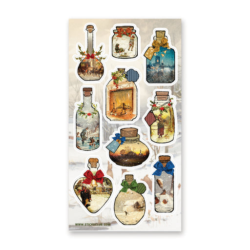winter christmas snow jars bottles sticker sheet