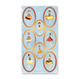 vintage retro pie cake dessert dress sticker sheet