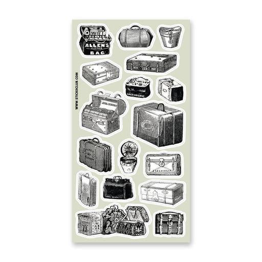 vintage victorian luggage suitcase bag travel sticker sheet