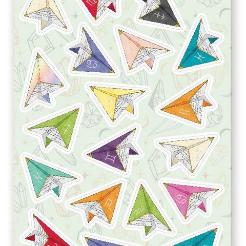 zodiac horoscope airplanes sticker sheet