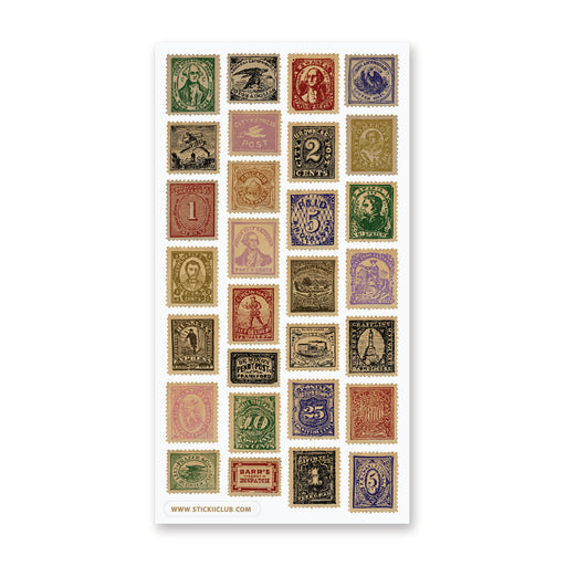 vintage victorian letter mail postage stamps sticker sheet