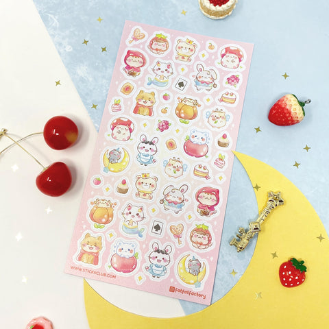 fairy tale mermaid mushroom cat cupcake story sticker sheet