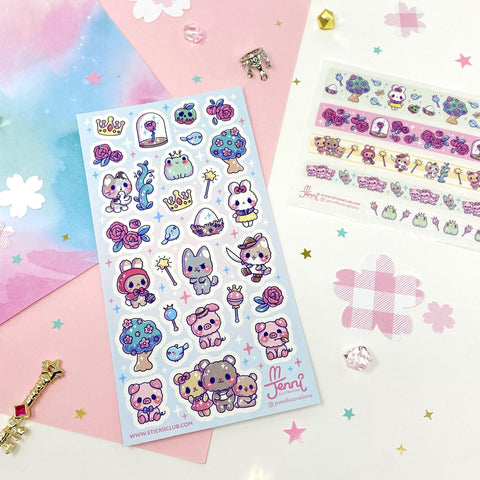 animal fairy tale story roses frog bunny sticker washi strips