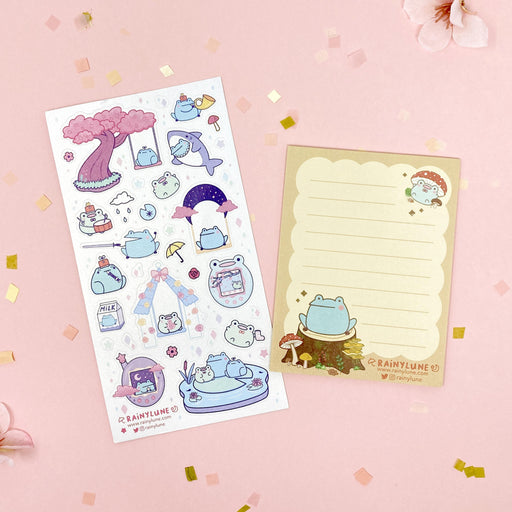 story time fantasy fairy tale princess castle knight frog sticker notepad paperclip