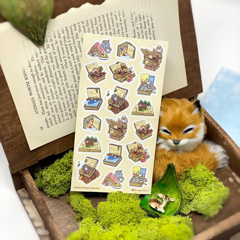 fairy tale story book bear fox tea owl sticker sheet