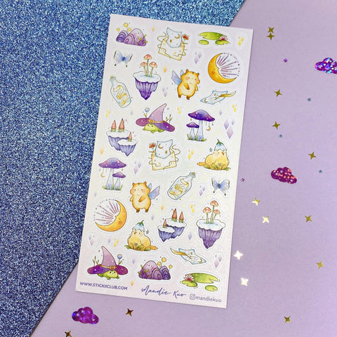 hamster frog chick bird mushroom witch magic fairy tale sticker sheet