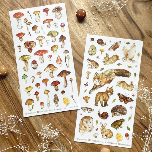 mushroom forest fox woodland owl raccoon terrarium sticker notepad stamp