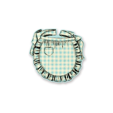 retro apron blue gingham notepad notes