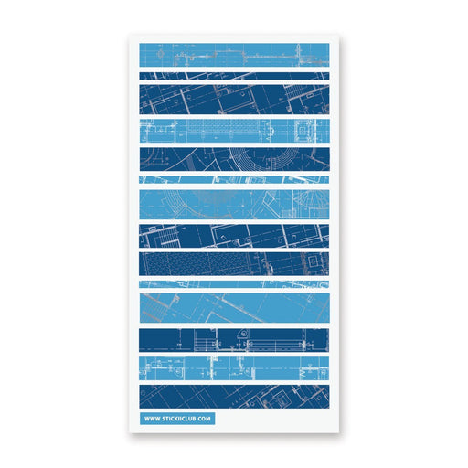 architecture drafting blueprint map sticker sheet