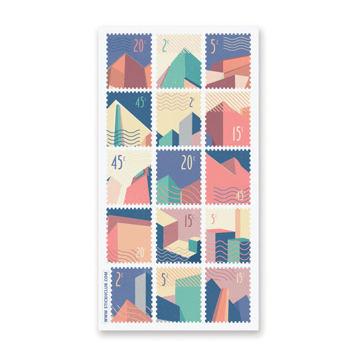 architectural buildings city stamp sticker sheet