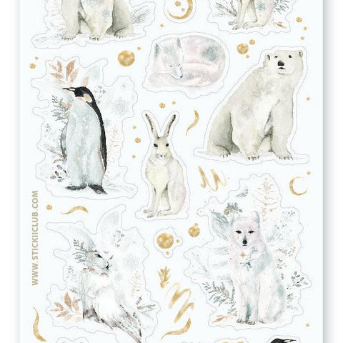 arctic snowy winter animals sticker sheet