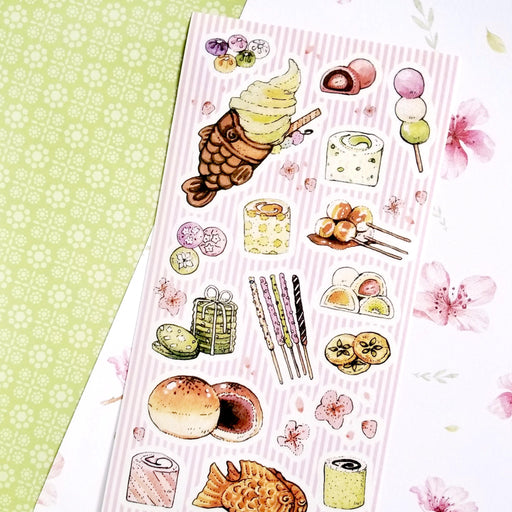 traditional sweets desserts street food snacks sticker sheet