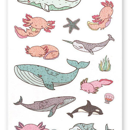 axolotl whale underwater sea sticker sheet