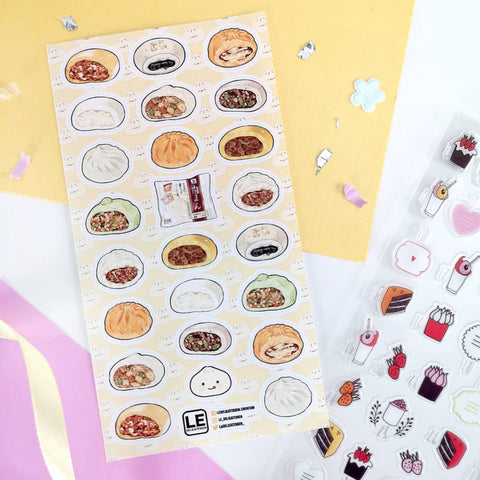 bao dumpling food buns sticker sheet
