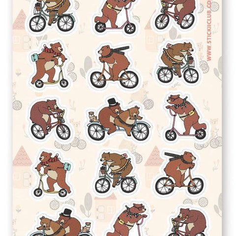 bears on bikes bicycle sticker sheet