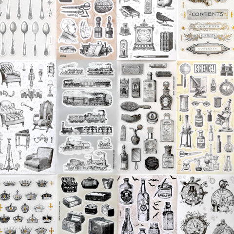 victorian vintage beauty products comb mirror sticker sheet