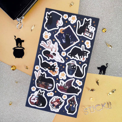 black cat witch magic star sticker sheet