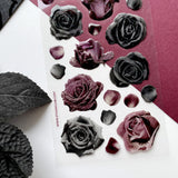 black roses glitter epoxy sticker sheet