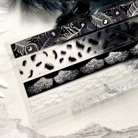 black white feather washi tape strips sticker sheet
