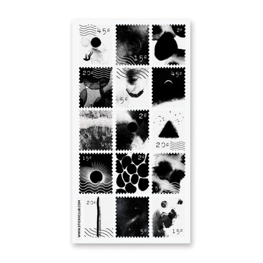 black white stamp sticker sheet