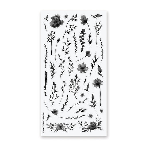 black floral flower nature sticker sheet