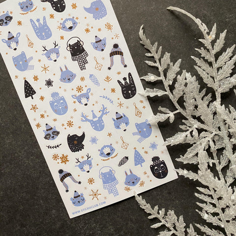 winter snowy animals sticker sheet
