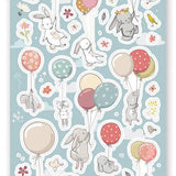 balloon floating bunny rabbit party flying sticker sheet